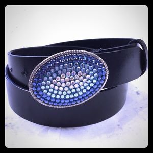 Leather belt CRYSTAL BUCKLE sz M/L